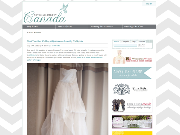 AMBphoto photography by Anne-Marie Bouchard featured on Style Me Pretty Canada